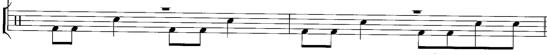 Partition pour la batterie des phrases 2 et 4 du deuxième couplet d'Old Man, tiré de l'album Harvest de Neil Young